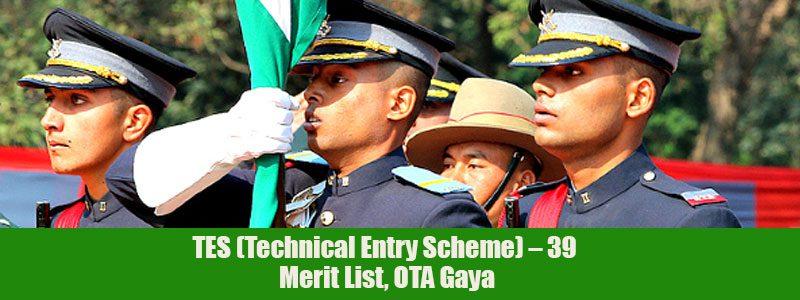 TES (Technical Entry Scheme) – 39, Merit List, OTA Gaya