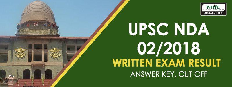 UPSC NDA 02/2018 Written Exam Result – Answer Key, Cut Off