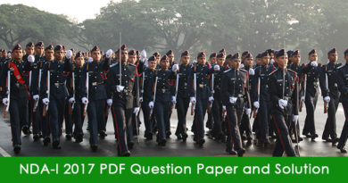 NDA-I 2017 PDF Question Paper and Solution