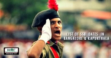 LIST of SSB Dates in Bangalore and Kapurthala