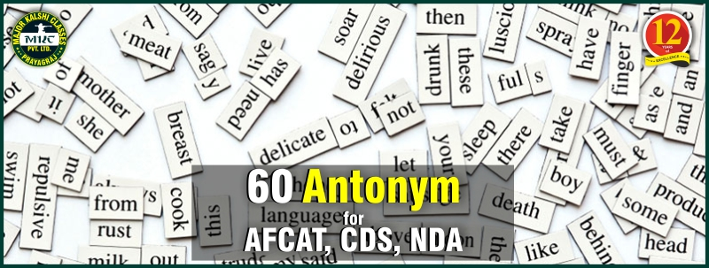 Go Through 60 Antonyms for AFCAT, CDS & NDA Quickly