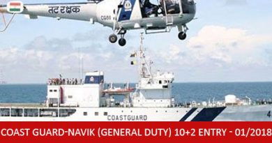 Indian Coast Guard-Navik (General Duty) 10+2 Entry - 01/2018 Batch