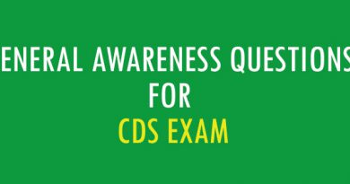 General Awareness Questions for CDS Exam