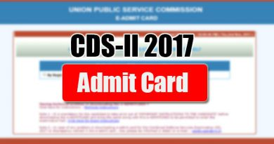 Admit Card of CDS-II 2017 exam on blog