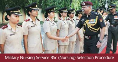 Military Nursing Service BSc (Nursing) Course – 2018 Selection Procedure