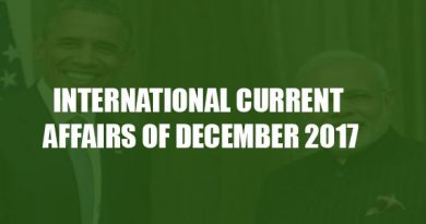 INTERNATIONAL CURRENT AFFAIRS OF DECEMBER 2017