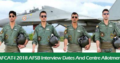 AFCAT-I 2018 AFSB Interview Dates And Centre Allotment