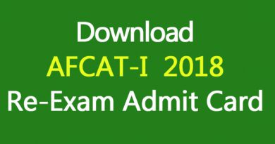 Download AFCAT-I 2018 RE-Exam Admit Card