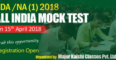 All India NDA-I Mock Test on 15th April 2018