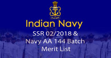 Merit list Navy SSR/AA - Batch 144, commencing Aug 2018