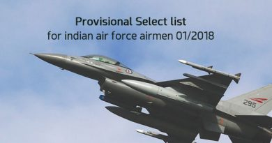 Provisional Select list for indian air force airmen 01/2018