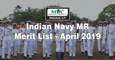 Indian Navy MR Merit List – April 2019