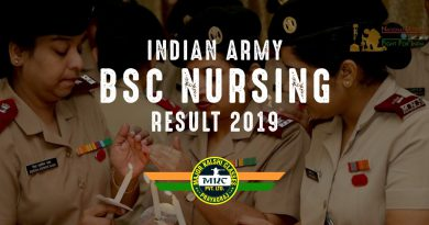 Indian Army BSc Nursing Result 2019