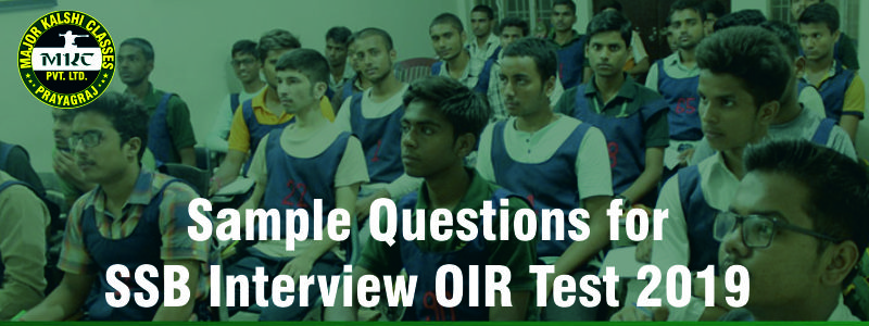 Sample Questions for SSB Interview OIR Test 2019