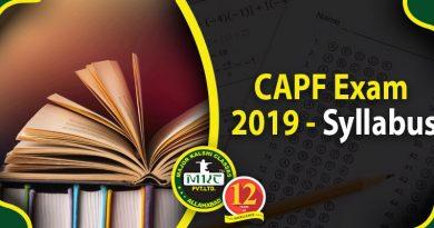 CAPF Exam Syllabus 2019