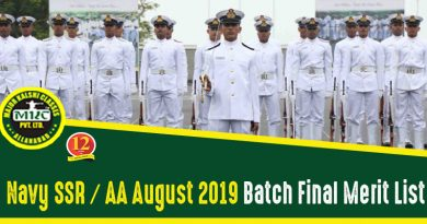 Navy SSR AA Merit List 2019
