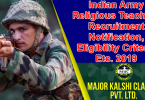 Indian Army Religious Teachers Recruitment Notification, Eligibility Criteria Etc. 2019