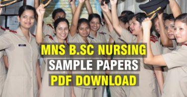 MNS B.Sc Nursing Sample Papers PDF Download