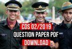 CDS 2/2019 Question Paper Pdf Download