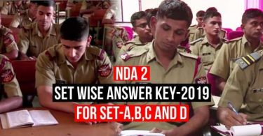 NDA 2 2019 Set Wise Answer Key Download for Math and GAT, SET-A, B, C, D