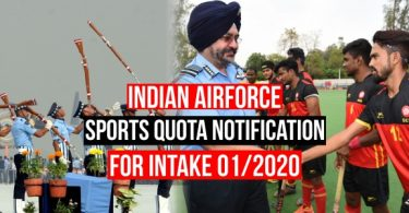 Indian Airforce Sports Quota Notification, Eligibility for Intake 01/2020
