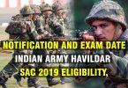 Indian Army Havildar SAC Eligibility, Notification, and Exam Date.