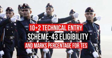10+2 Technical Entry Scheme Eligibility Criteria, Marks Percentage for TES