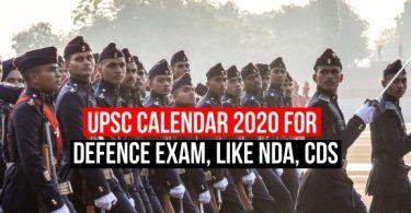 UPSC Calander 2020 For Defence Examination