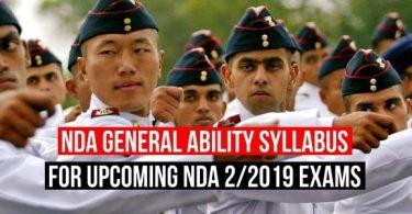 NDA General Ability Syllabus for Upcoming NDA 2/2019 Exams