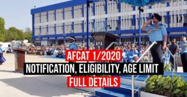 AFCAT 1/2020 Notification, Eligibility, Age Limit, Education Qualification