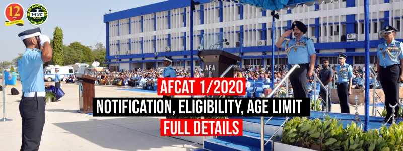 AFCAT 1/2020 Notification, Eligibility, Age Limit, Education Qualification