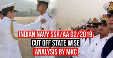 Indian Navy SSR/AA Cut Off 2/2019 State Wise Analysis