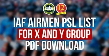 IAF Airmen PSL List for X and Y Group Download Pdf.