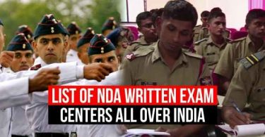 List of NDA Written Exam Centers, all over India