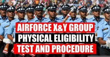 Airforce X and Y Group Physical Eligibility Test Procedure