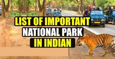 List of Important National park in India