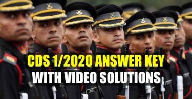 CDS 1/2020 Answer Key with Video Solutions