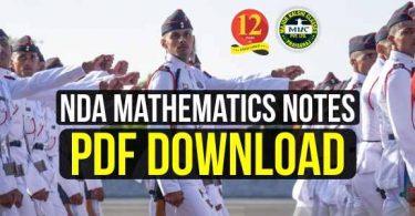 NDA Mathematics Notes Pdf Download